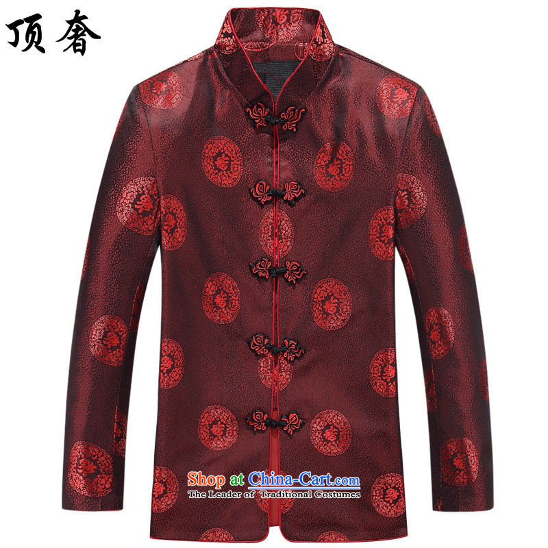 Top Luxury Tang dynasty men 2015 New Tang dynasty in long-sleeved older couples Tang dynasty father boxed loose large code disk clip cotton jacket red T-shirt Men's Shirt men 190