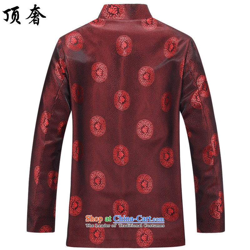 Top Luxury Tang dynasty men 2015 New Tang dynasty in long-sleeved older couples Tang dynasty father boxed loose large code disk clip cotton jacket red T-shirt men's shirts聽190, male top luxury shopping on the Internet has been pressed.