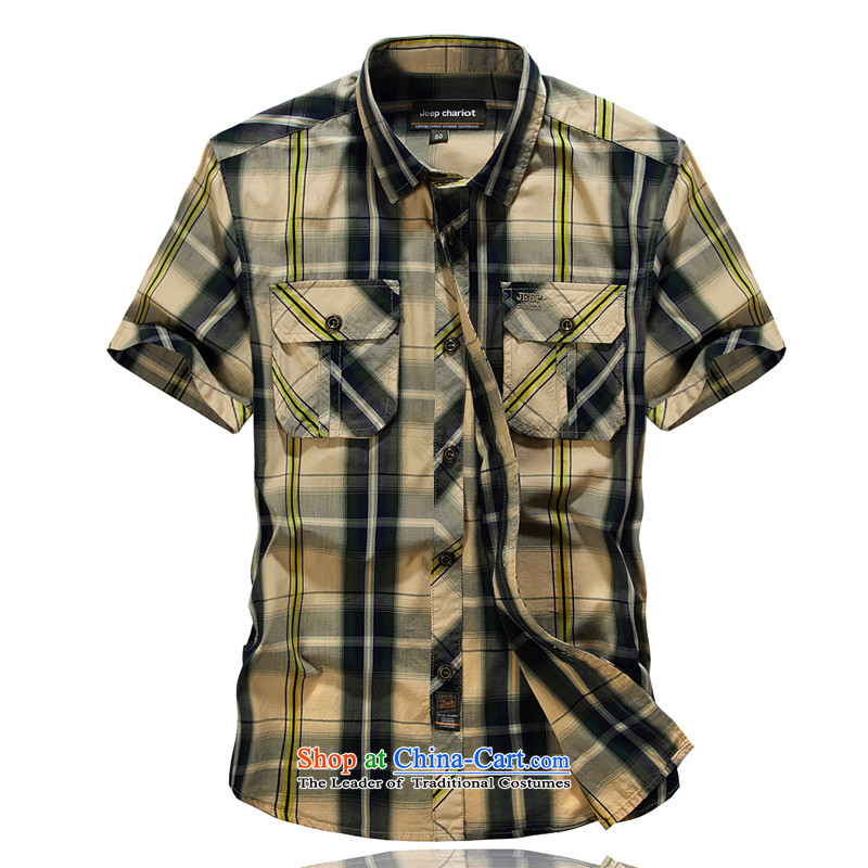 Jeep chariot short-sleeved shirt and lisping pure cotton shirt 8511 large grid-?XL