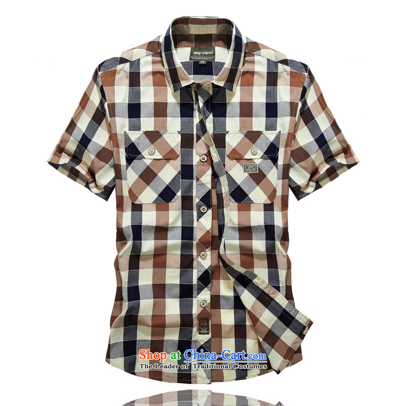 Jeep chariot short-sleeved shirt men checked short sleeve shirt ironing from 8512- L
