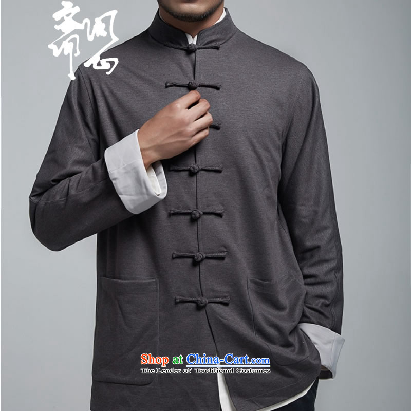 Q Shinsaibashi represented a health (men fall new Chinese design tray clip leisure jacket minimalist shirt 1162 M Gray