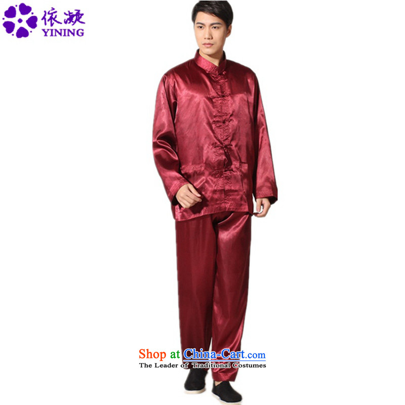 In accordance with the fuser trendy new_ Older Men's Long-Sleeve straight up a Field installed kit Tang detained kung fu shirt sanshou聽Lgd_m3011_ Serving聽Sauces Red聽2XL