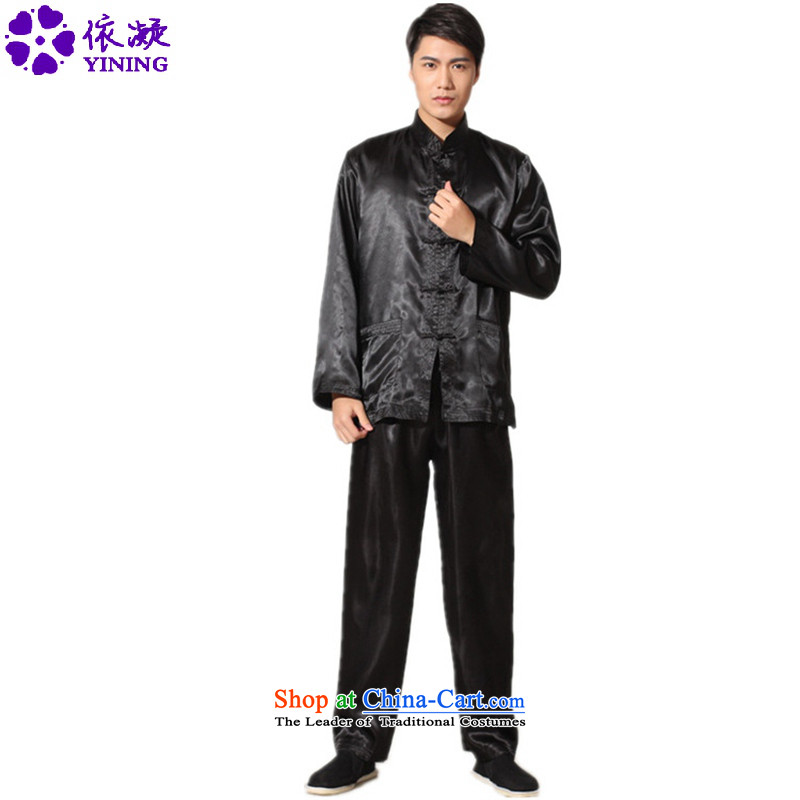 In accordance with the stylish new fuser men of ethnic Tang dynasty collar straight up long-sleeved shirt Tang Dynasty Package and the services of the Netherlands LGD_M3010_ kung fu black L
