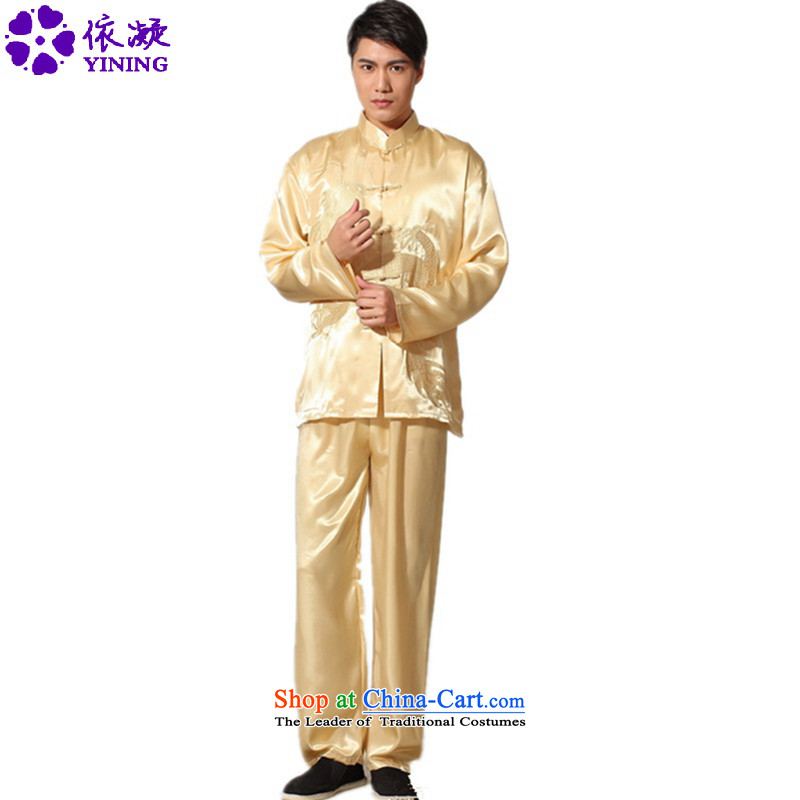 In accordance with the fuser trendy new) older men a field-embroidered dragon Tang Dynasty Package and the Netherlands?LGD/M0012# services kung fu?cornhusk yellow?XL