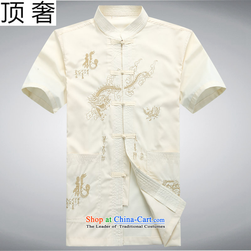 Top Luxury Tang Dynasty Package beige 2015 new summer short-sleeved men Tang dynasty short-sleeved blouses Tang men men short-sleeved shirt dragon embroidery leisure wears beige coat聽185