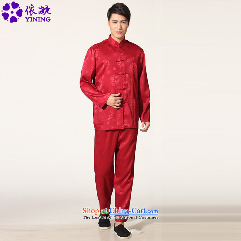 In accordance with the fuser trendy new_ older men of ethnic Chinese Tang dynasty package and the services of the Netherlands聽LGD_M0050_ kung fu -C, wine red聽M