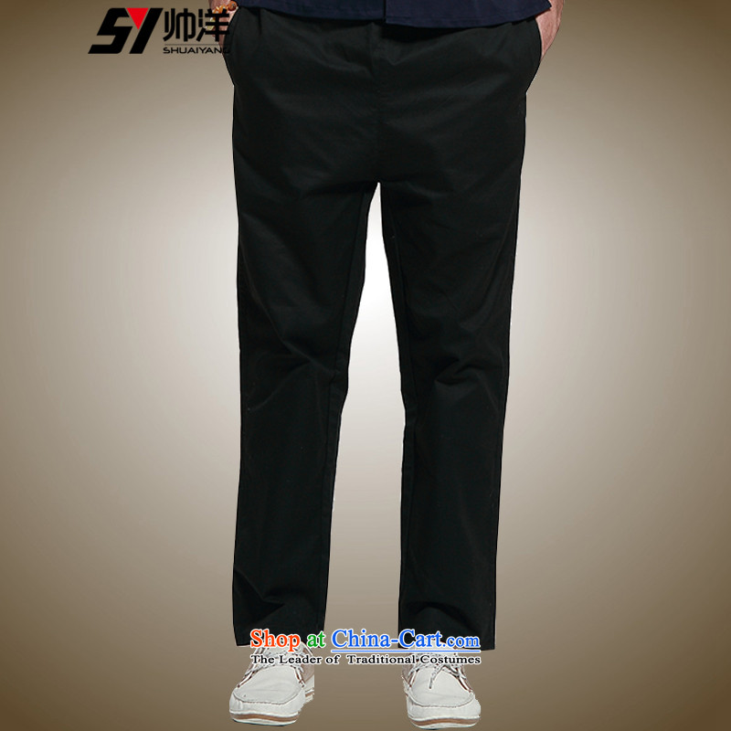 Spring 2015 Yang Shuai New Men Tang pants China Wind Pants and cotton national costumes loose version of Chinese elastic waist comfort with a straight black�_175