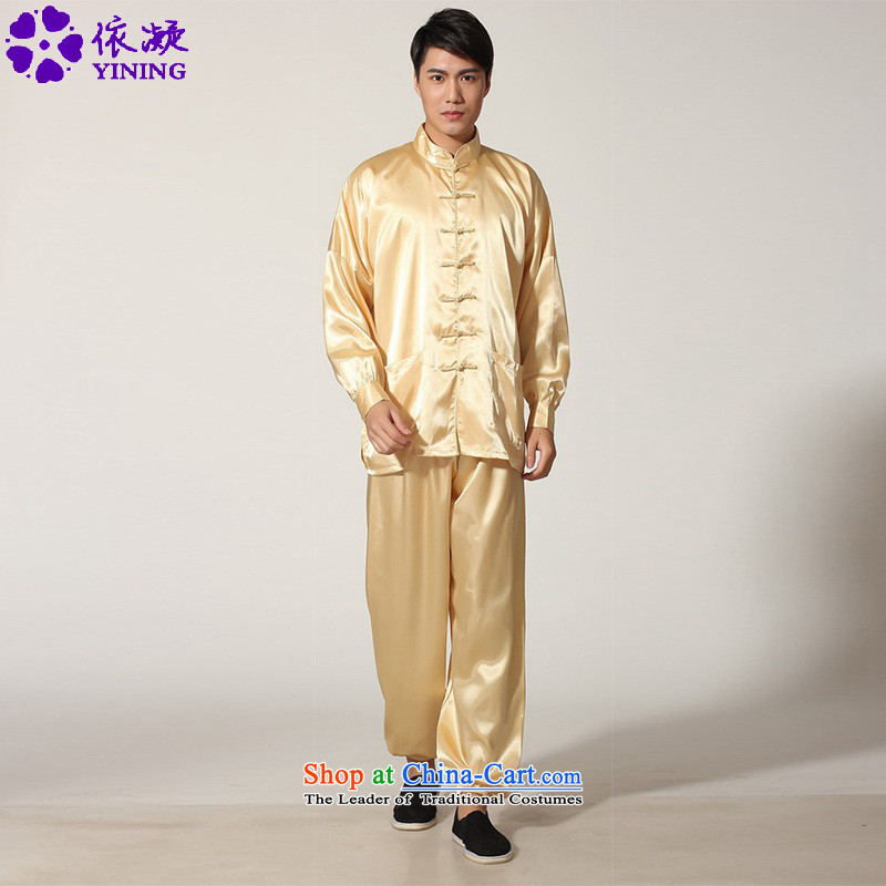 In accordance with the fuser trendy new_ older men Chinese clothing Tang Dynasty Package kung fu tai chi kit shirt sanshou Lgd_m0048_ Services -D GOLD XL