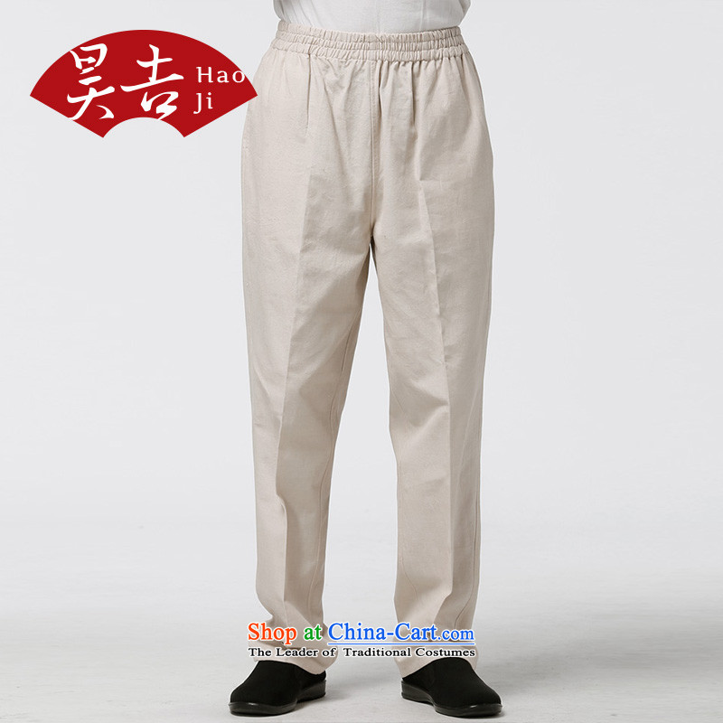 Ho Chi summer pure cotton in older men Tang pants ethnic father loose trousers and pants meters summer yellow�180