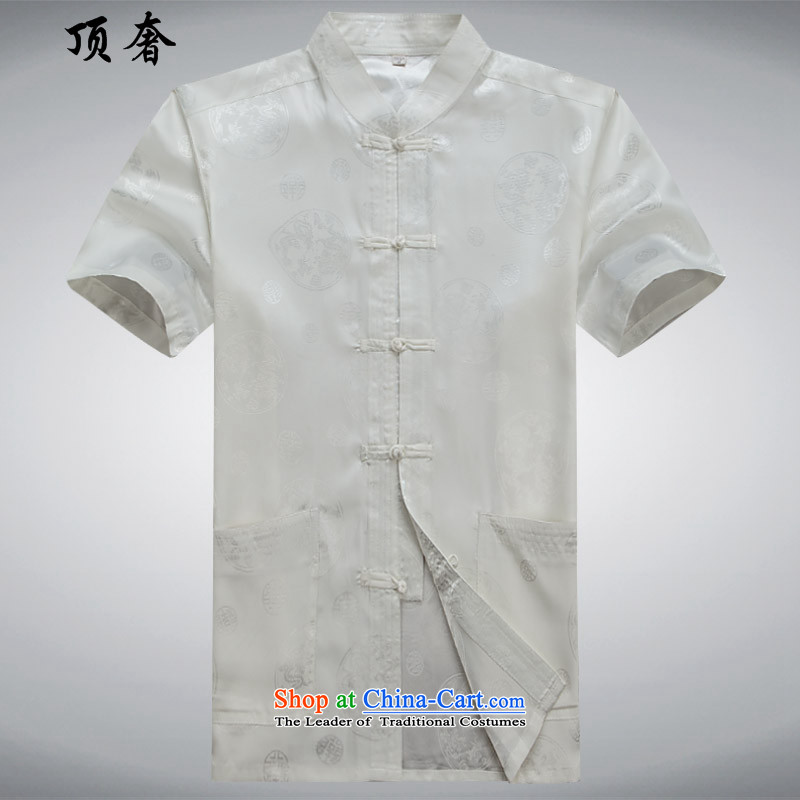 Top Luxury older Tang Dynasty Short-Sleeve Men Kit red silk Chinese Han-emulation father replace jogging exercise clothing shirt collar disc detained Men's Mock-Neck White Kit 190