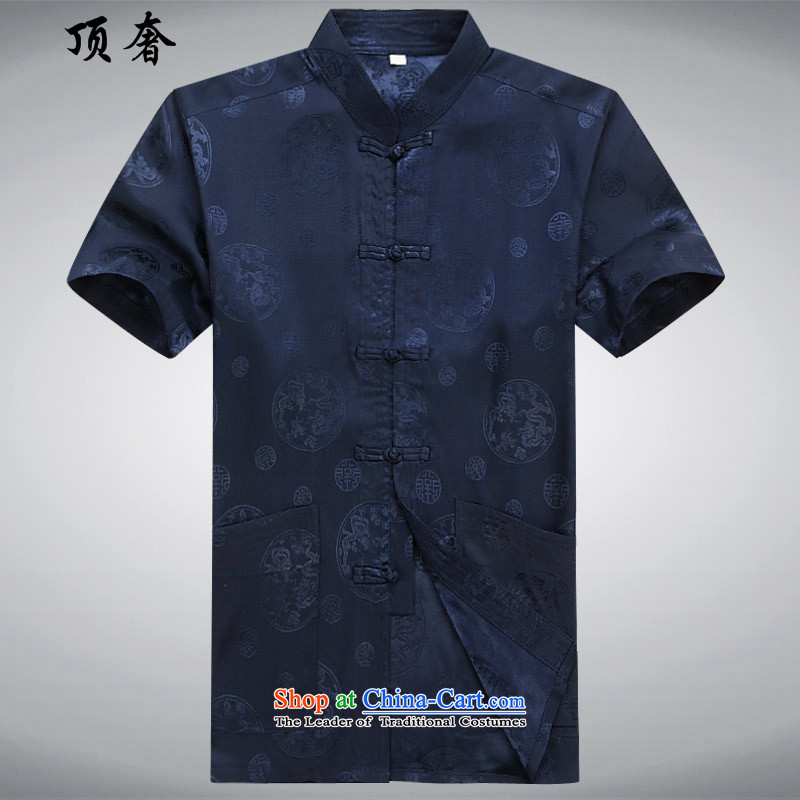 Top Luxury 2015 new festive men short-sleeved blouses Tang Tang dynasty leisure and business men and short-sleeved summer Dark Blue Men's Mock-Neck China wind Han-Dark Blue Kit 170