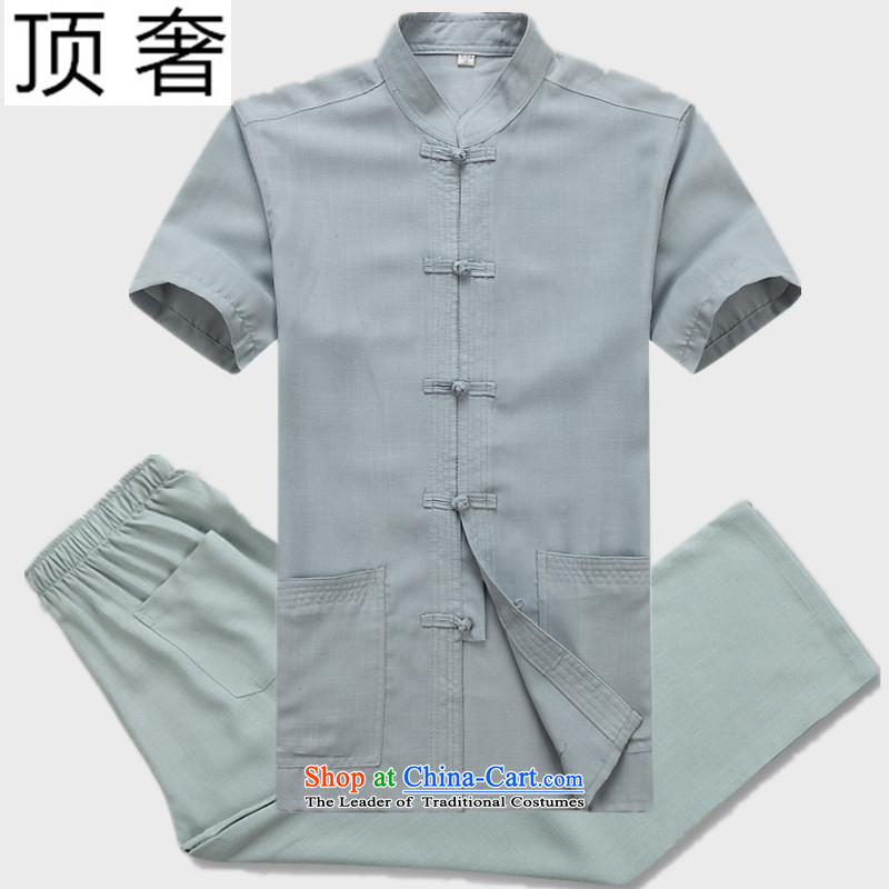 Top Luxury older Tang dynasty summer short-sleeved shirt middle-aged men Tang blouses father replacing men elderly clothes China wind gray snap-collar Han-Tang dynasty gray suit聽180