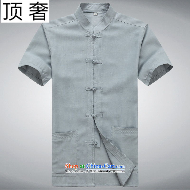 Top Luxury older Tang dynasty summer short-sleeved shirt middle-aged men Tang blouses father replacing men elderly clothes China wind gray snap-collar Han-Tang dynasty gray suit聽in top luxury shopping on the Internet has been pressed.