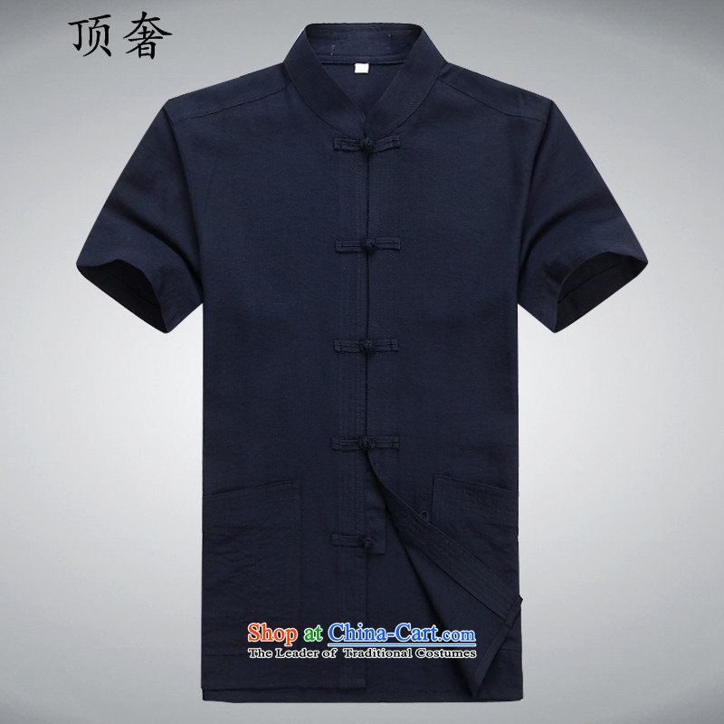 Top Luxury Tang dynasty male summer in older men short-sleeved Tang Dynasty Package manually disc detained Chinese white short-sleeved leisure wears his father Father replacing mock Blue Kit聽170