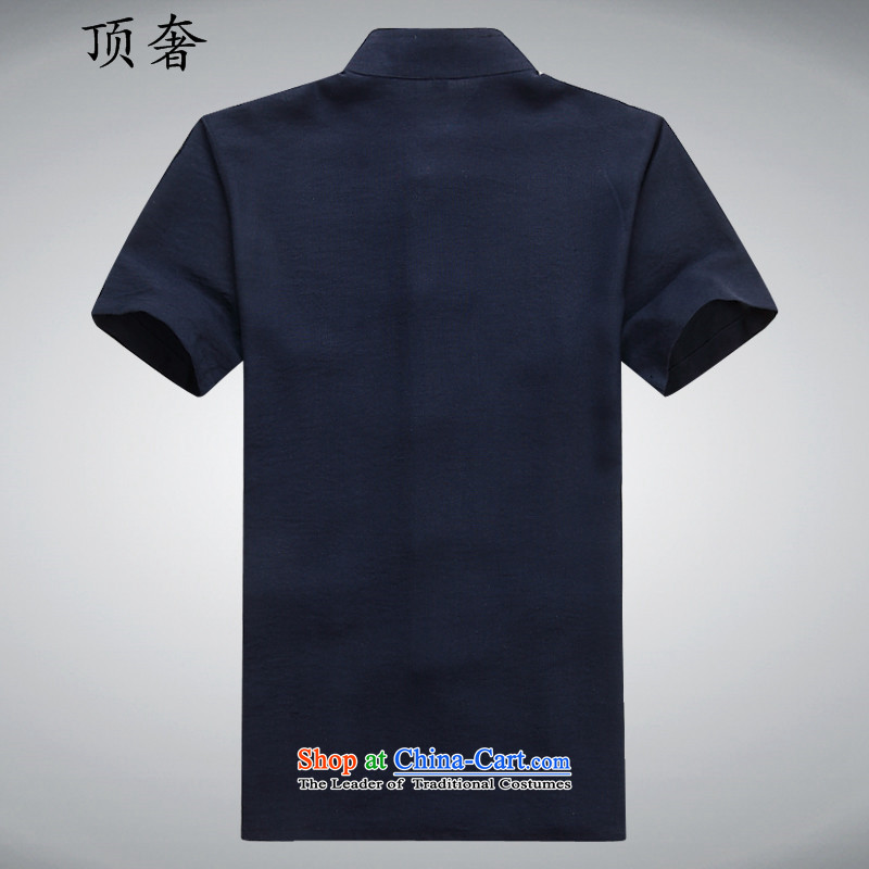 Top Luxury Tang dynasty male summer in older men short-sleeved Tang Dynasty Package manually disc detained Chinese white short-sleeved leisure wears his father Father replacing mock Blue Kit聽170, the top luxury shopping on the Internet has been pressed.