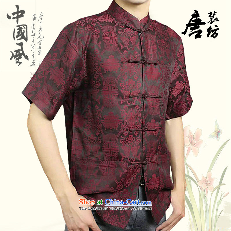 Boris poem federation short-sleeved Tang dynasty male�2015 Summer New China wind in Tang Dynasty herbs extract older cloud of incense yarn with high end of the father of silk Tang Red�190
