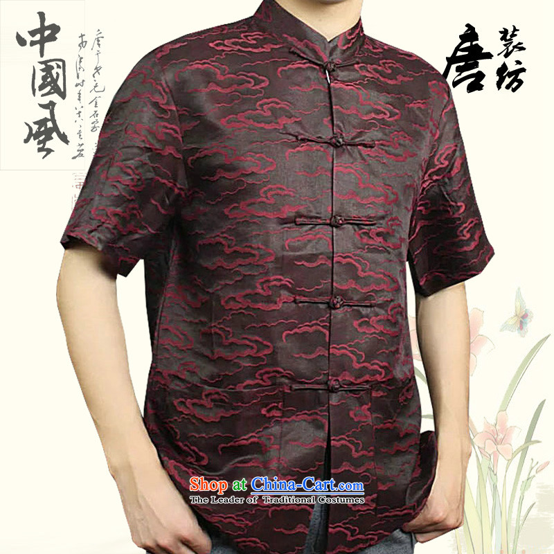 Boris poem federation short-sleeved Tang dynasty male?2015 Summer New China wind in Tang Dynasty herbs extract older cloud of incense yarn with high end of the father of silk Tang Red?185