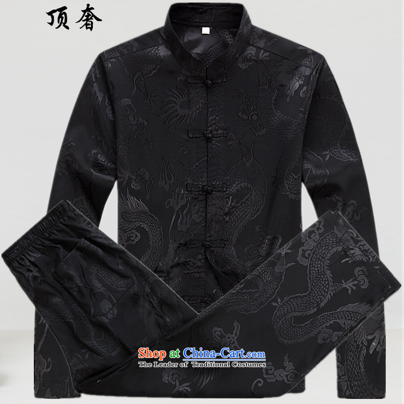 Top Luxury  2015 New in spring and autumn replacing Tang dynasty older men Kit Chinese dragon men xl father Tang Tray Charge short-sleeve kit long-sleeved shirt Black 170