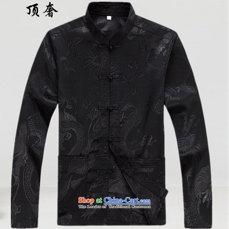 Top Luxury聽 2015 New in spring and autumn replacing Tang dynasty older men Kit Chinese dragon men xl father Tang Tray Charge short-sleeve kit long-sleeved shirt black聽170, the top luxury shopping on the Internet has been pressed.