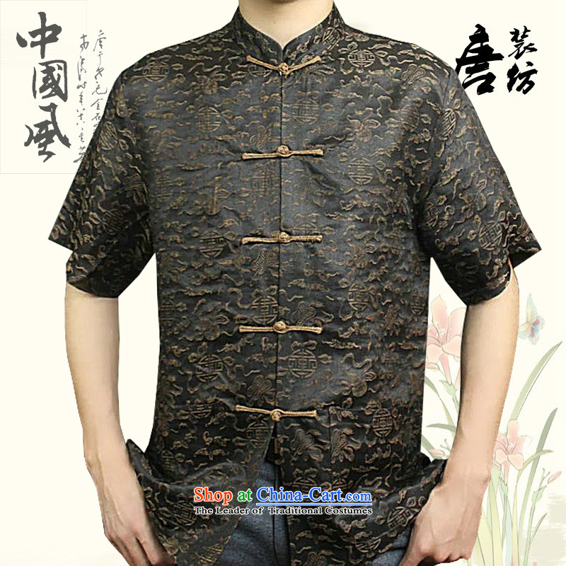 Boris poem federation short-sleeved Tang dynasty male�2015 New China wind in Tang Dynasty herbs extract older cloud of incense yarn with high end of the father of silk Tang packaged coffee�180