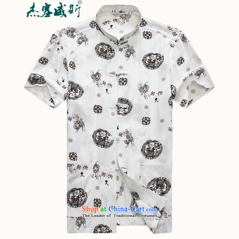 In the new kit, male summer improved small collar stamp short-sleeved shirts in Tang Dynasty White�175