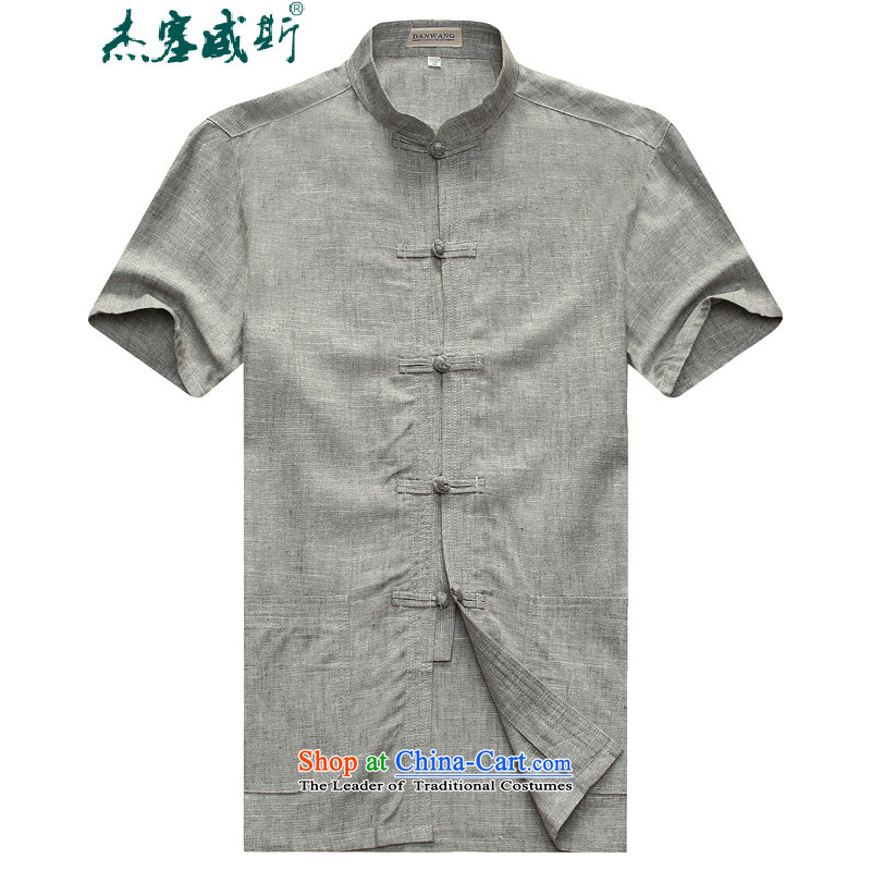 In the new kit, male summer solid color cotton linen collar short-sleeved shirt with tie manually install gray�175 Tang