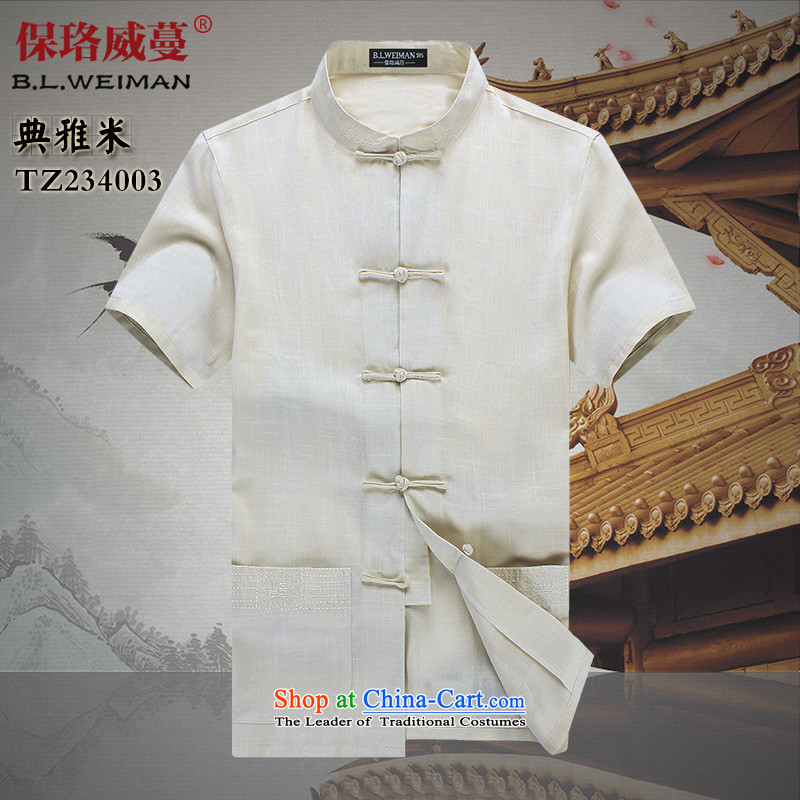 The Lhoba nationality Wei Mephidross warranty in spring and summer Flex-cotton men Tang dynasty male short-sleeved T-shirt Chinese ROM China wind shirt clip summer elegant聽175_L M