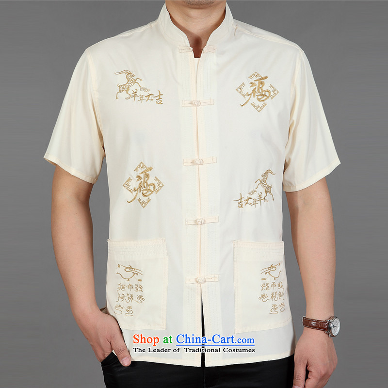 New Men's short-sleeved in Tang Dynasty older summer shirts older persons summer China wind men Tang dynasty shirt sheep m Yellow