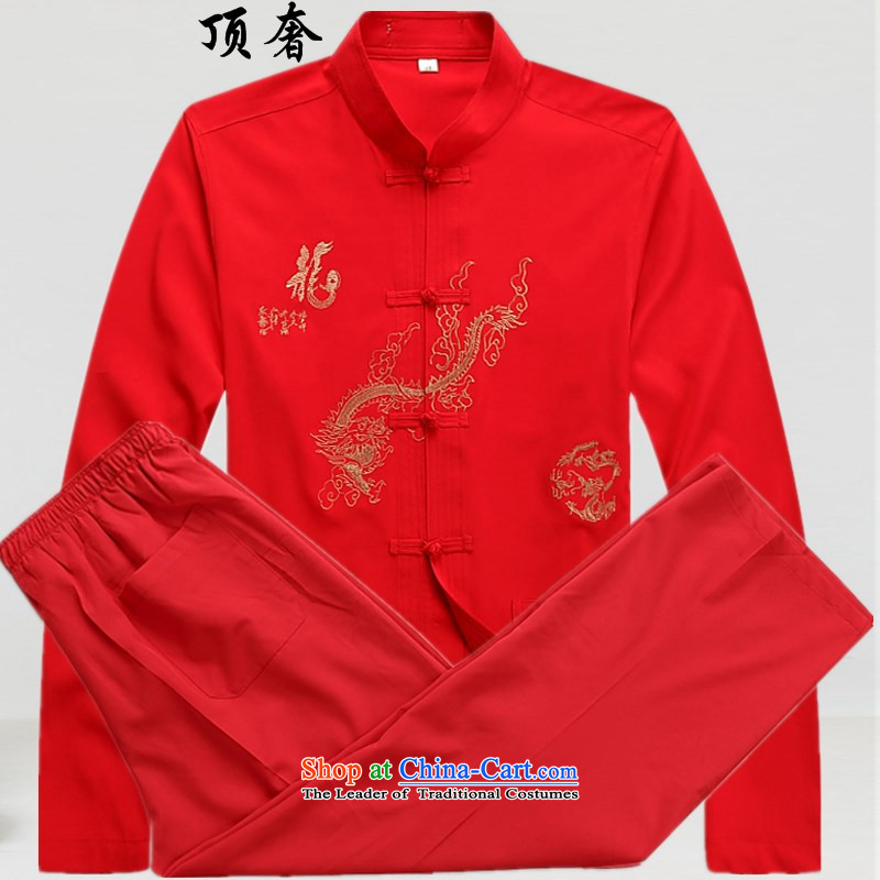 Top Luxury long-sleeved Kit Tang dynasty male new spring and summer men Tang dynasty long-sleeved clothing middle-aged father Han-red T-shirt older persons Tang Dynasty Chinese men kit red kits pants with Yi 180
