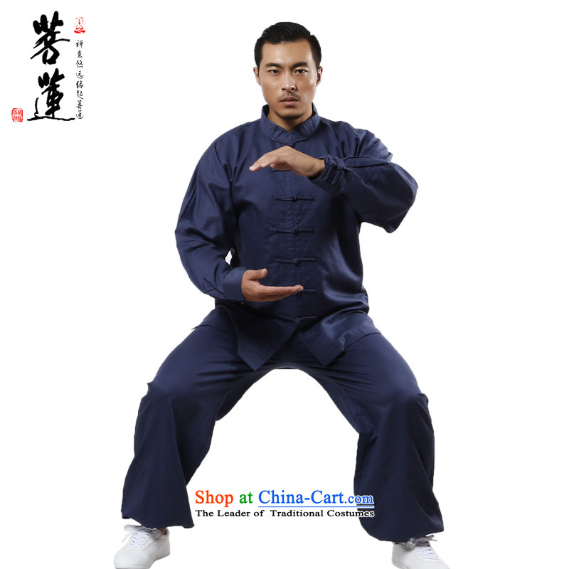 On cotton linen flax Lin dulls thin, men and women serving long-sleeved ball-tai chi meditation martial arts practitioners show services morning gray-blue XL