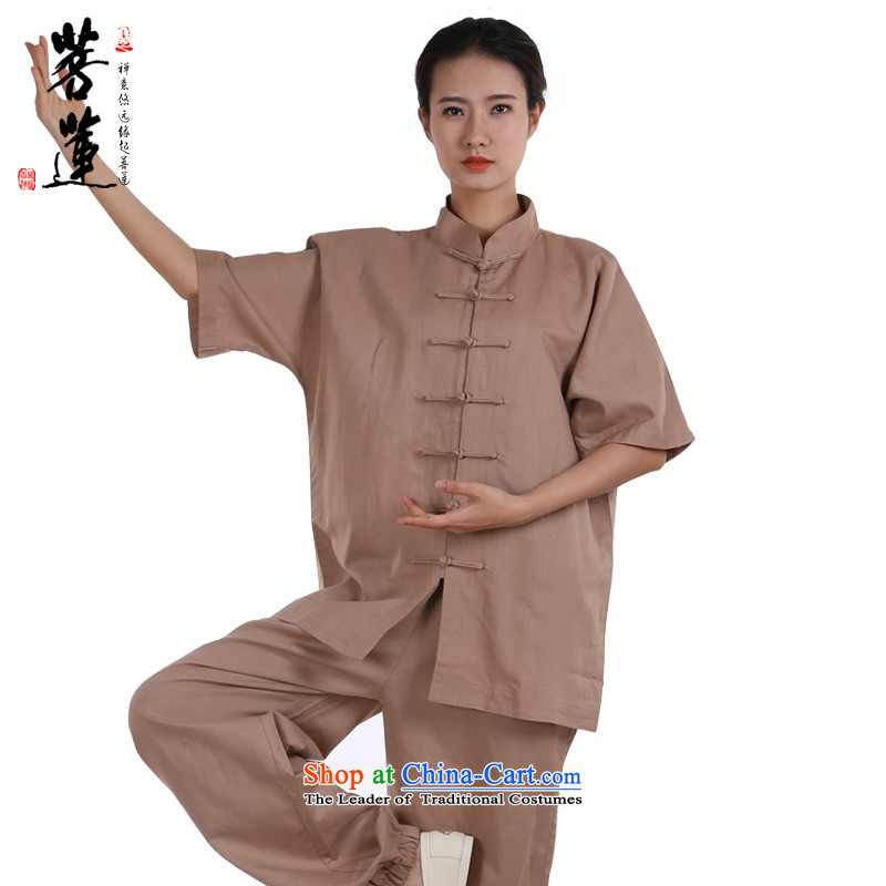 On cotton linen flax Lin dulls thin, men and women serving short-sleeve ball-tai chi meditation martial arts practitioners serving performances morning khaki燲L