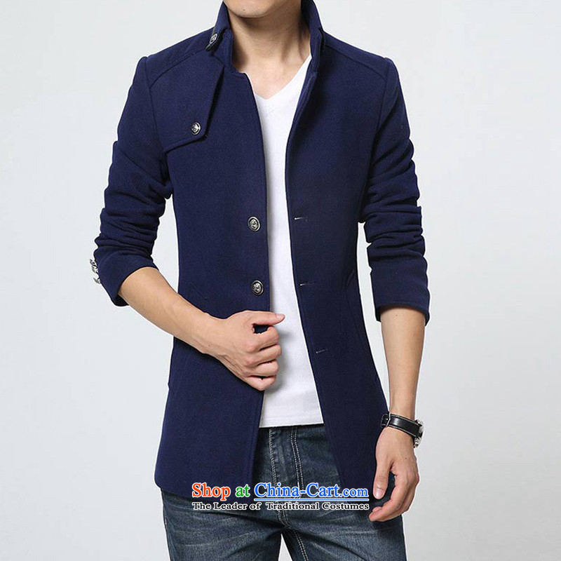 Korean Men's Mock-Neck Stylish coat 8915 Blue M