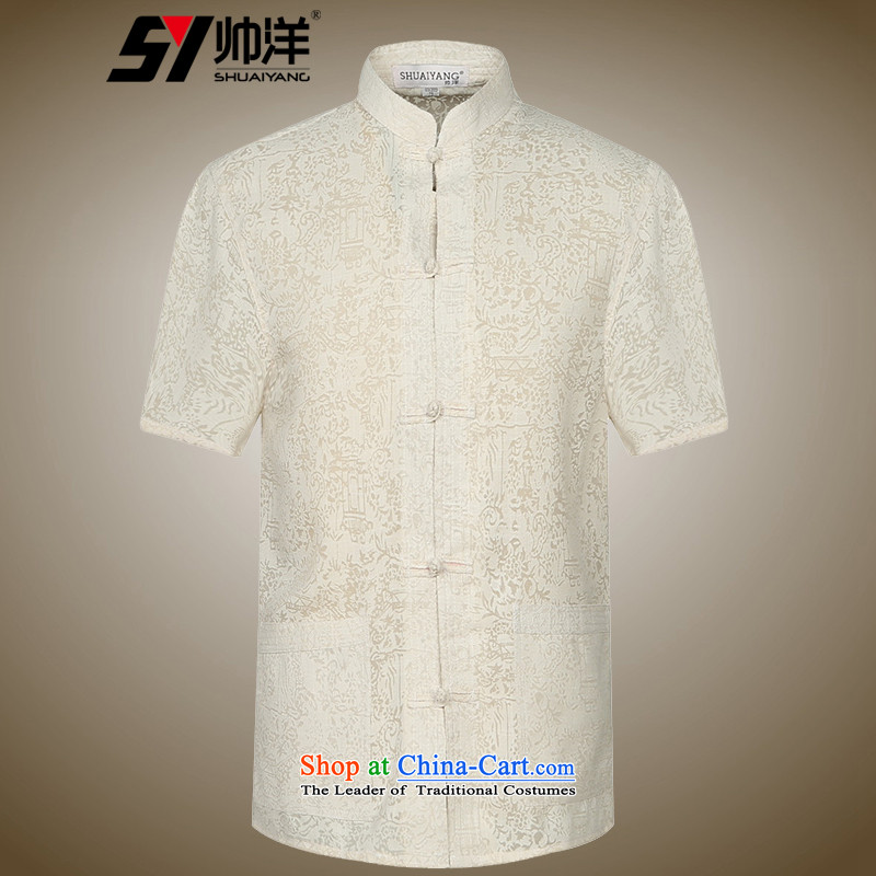 The new ocean handsome men Tang dynasty short-sleeved shirt along the River During the Qingming Festival  Chinese men's shirts, summer clothing men China wind聽42_180 m Yellow