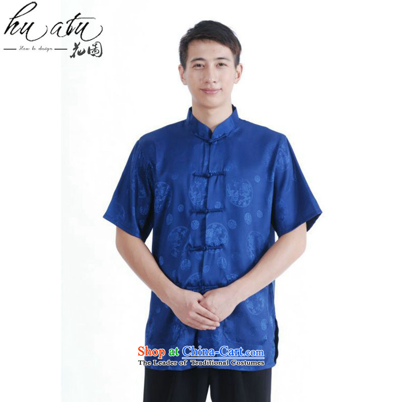 Figure for summer flowers new Tang dynasty men women had the Chinese stand collar of his breast enhancement of solid color short-sleeved blouses�M2066 consultations XXXL