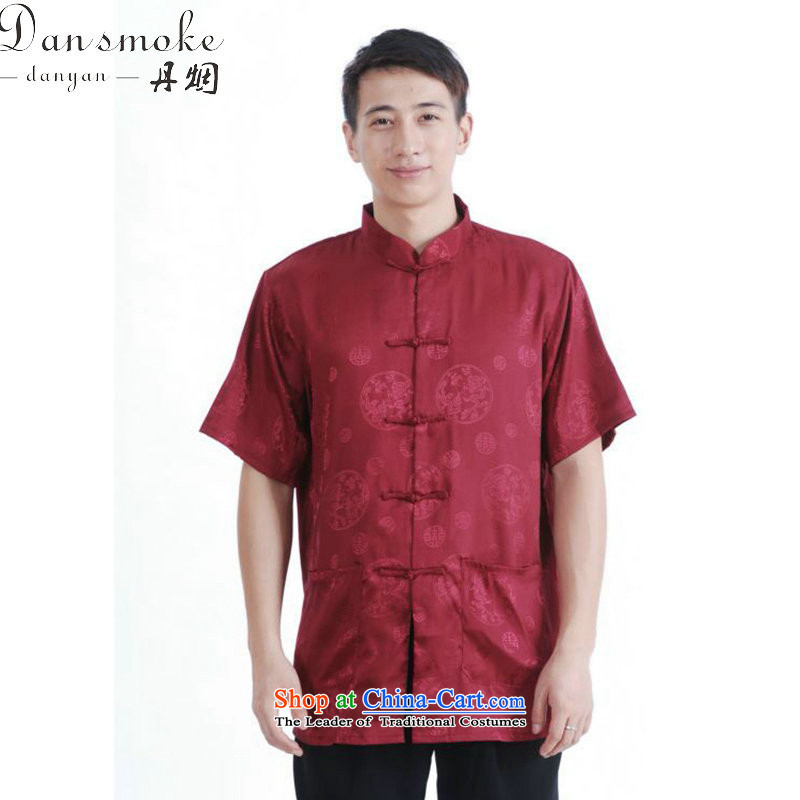 Dan smoke summer new Tang dynasty men women had the Chinese stand collar of his breast enhancement of solid color short-sleeved blouses M2065 consultations XXXL
