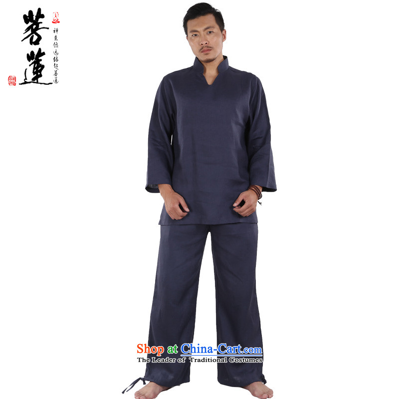 The pursuit of pure linen V-neck in Hualien China wind meditation ball yoga clothing/men meditation pad service tai chi martial arts services deep blue?S