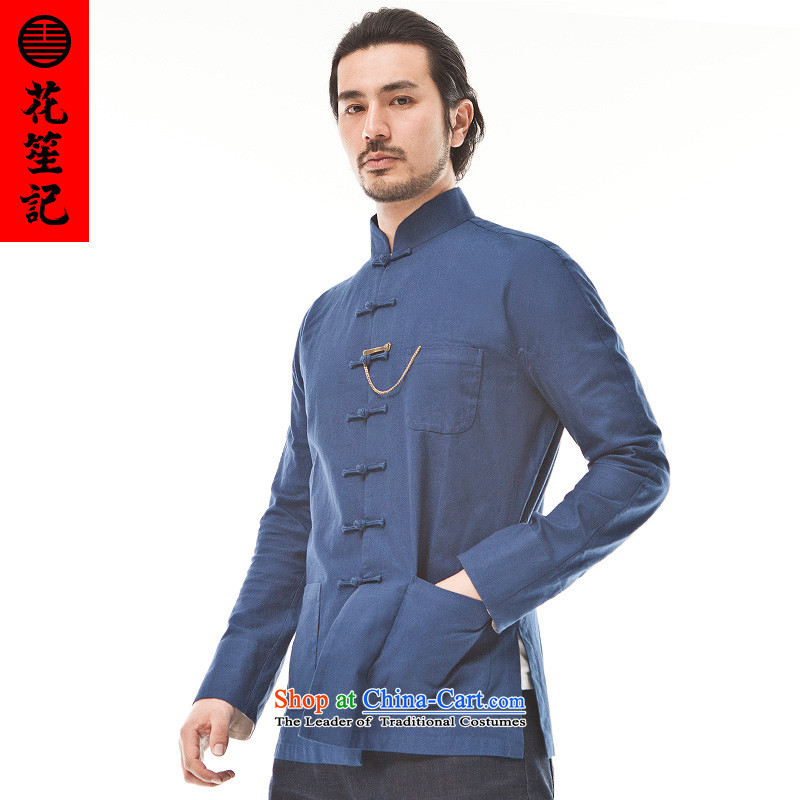 His Excellency flower note China wind cotton maximum privacy Tang Dynasty Chinese ethnic men casual disc buttoned, Retro jacket dark blue large _L_