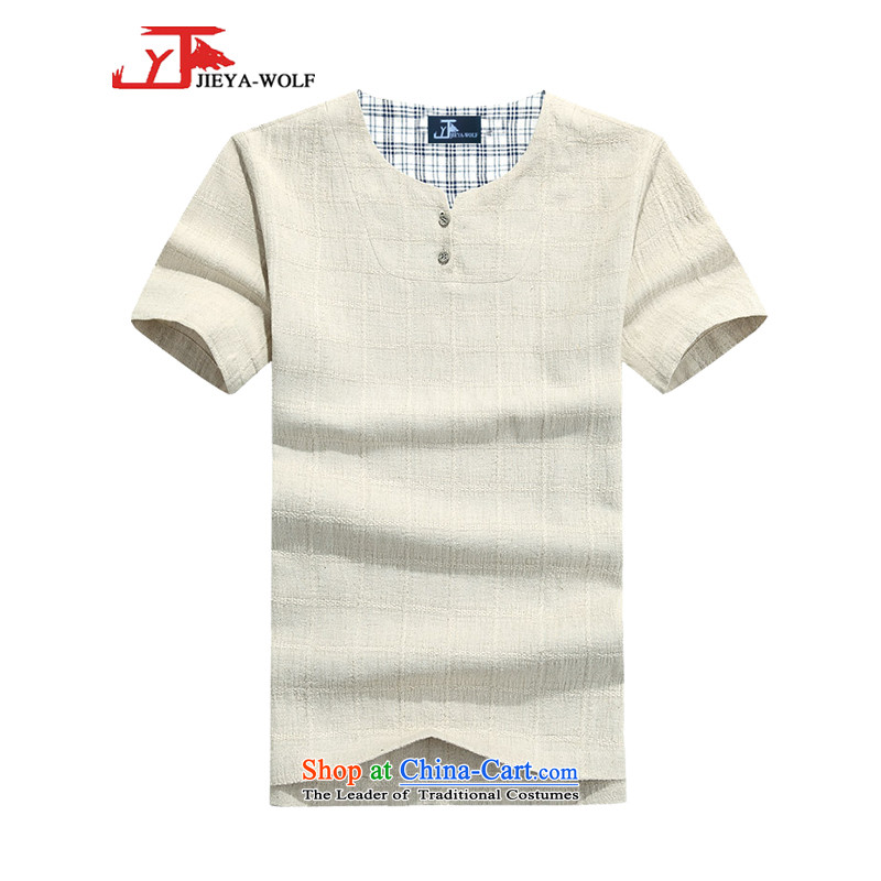 - Wolf JIEYA-WOLF, New Tang Dynasty Short-Sleeve Men's summer advanced cotton linen dark shading plain manual tray detained men stars, beige 175/L 1