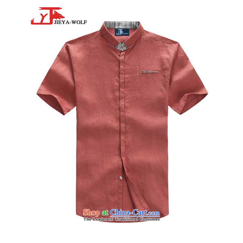 - Wolf JIEYA-WOLF, New Tang Dynasty Short-Sleeve Men's smaller flip style leisure cotton linen solid color summer Tang Dynasty Men's Shirt with pink colors?170_M Trend