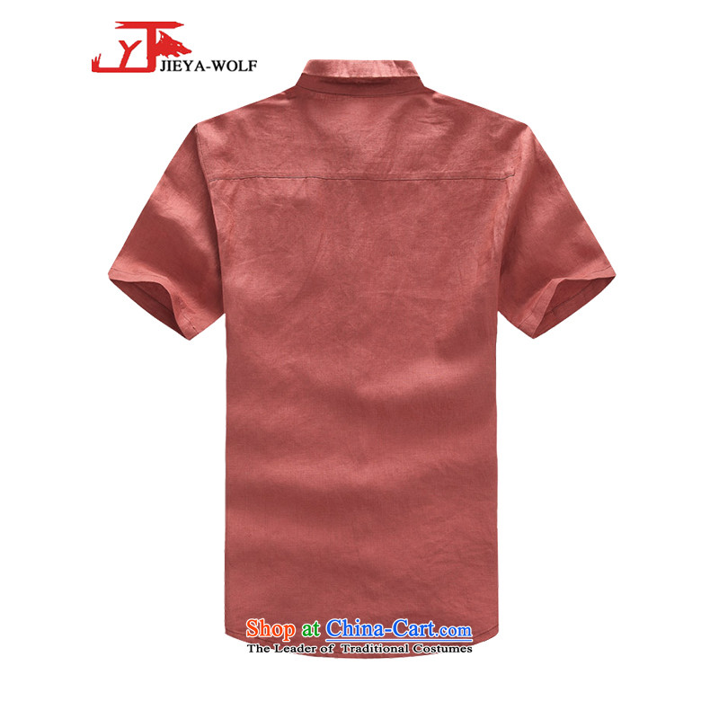 - Wolf JIEYA-WOLF, New Tang Dynasty Short-Sleeve Men's smaller flip style leisure cotton linen solid color summer Tang Dynasty Men's Shirt trend fitted rose聽170/M,JIEYA-WOLF,,, shopping on the Internet