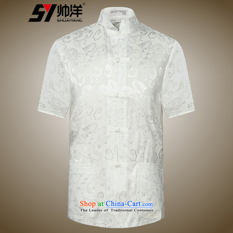 The new 2015 Yang Shuai men Tang dynasty short-sleeved shirt summer China wind male blouses Chinese national costumes white?42_185