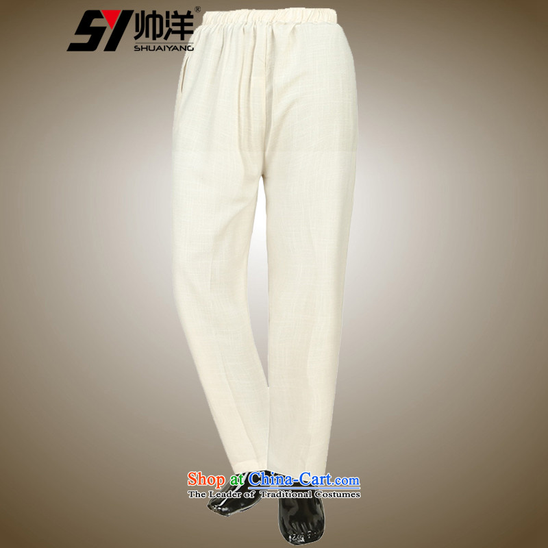 The new 2015 Yang cool summer men Tang pants China Wind Pants slim breathable Chinese male yellow聽42_180 M