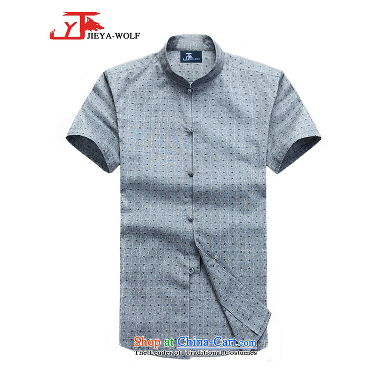 - Wolf JIEYA-WOLF, New Tang Dynasty Short-Sleeve Men's Shirt pure cotton shirt summer stylish casual China wind men of gray?185_XXL Stars