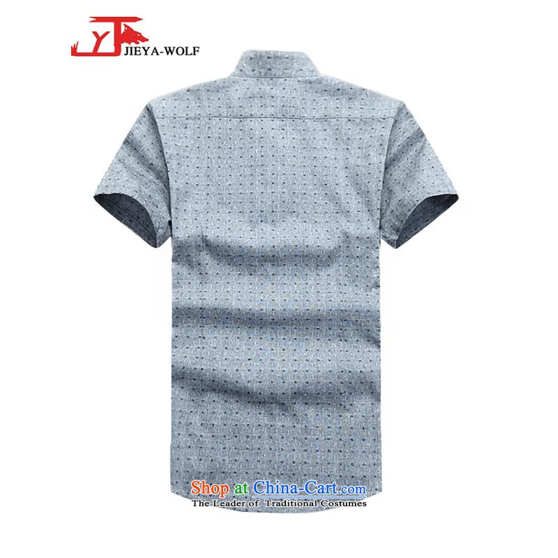- Wolf JIEYA-WOLF, New Tang Dynasty Short-Sleeve Men's Shirt pure cotton shirt summer stylish casual China wind men stars of gray聽185/XXL,JIEYA-WOLF,,, shopping on the Internet
