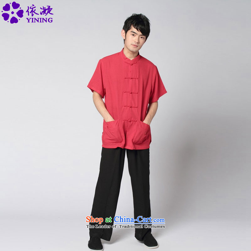 In accordance with the stylish new fuser men retro sheikhs wind short-sleeved Chinese tunic two kits Tang Dynasty Package Thermal tai chi?WNS_2350_ service kit?-10_ 3XL