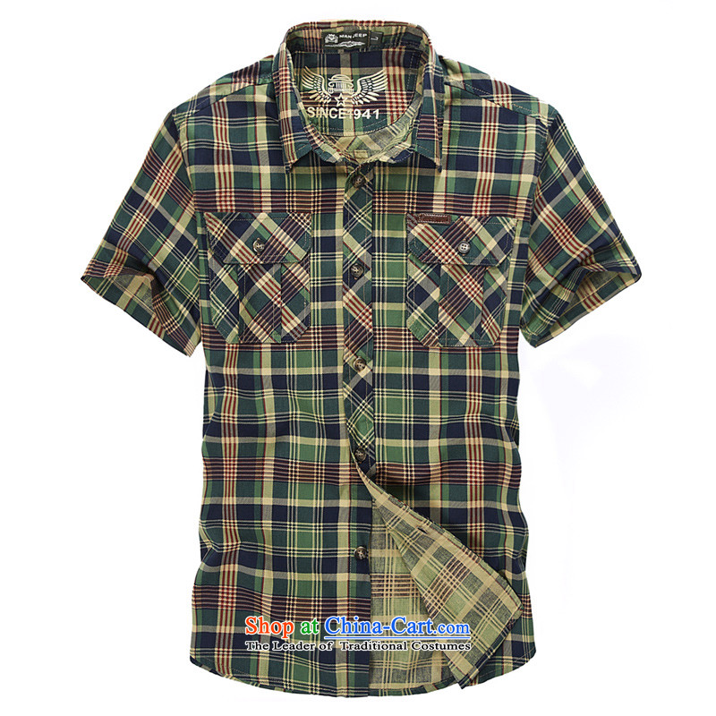 The new 2015 Shield Roma men lapel summer leisure washable shirt D5830 green�4XL