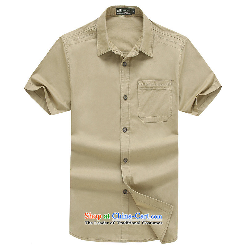 The new 2015 Shield Roma men lapel summer leisure washable shirt D5831 KHAKI聽XL