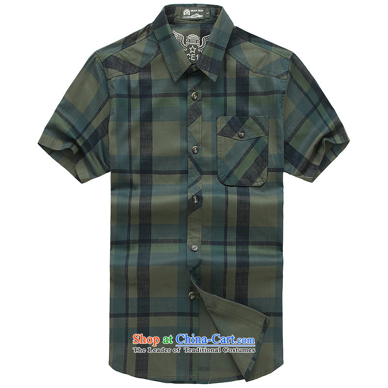 The new 2015 Shield Roma men lapel summer leisure washable shirt D5833 Army Green聽XXL