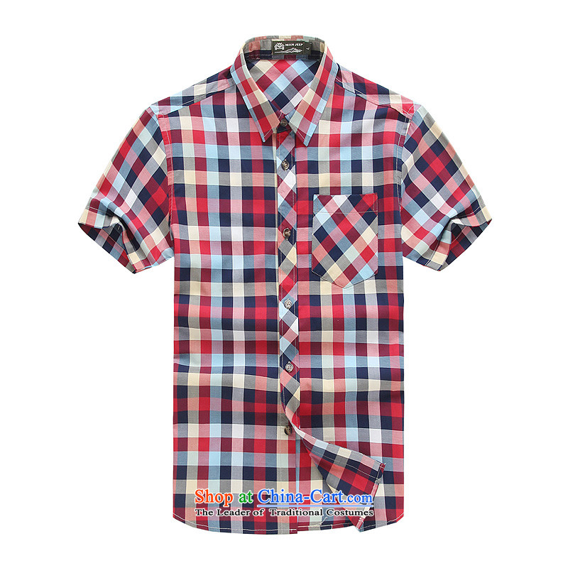 The new 2015 Shield Roma men lapel summer leisure washable shirt D5837 RED聽XL