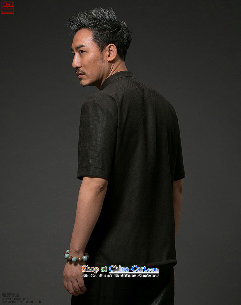 Renowned China wind men Summer Scent of silk yarn in the cloud of older men Tang dynasty Short-sleeve men casual Tang-black nation聽XL Photo, prices, brand platters! The elections are supplied in the national character of distribution, so action, buy now enjoy more preferential! As soon as possible.